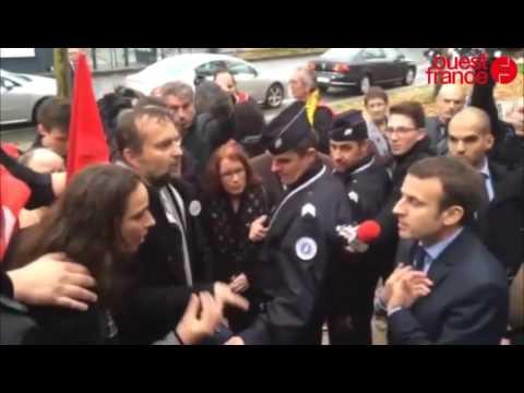 Macron à Rennes  Interpellé par des manifestants