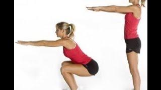 Приседания:  Упражнение для укрепления мышц поясничного отдела