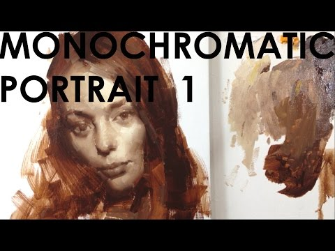 How to paint Female Portrait 1: Monochromatic under painting (1/3).