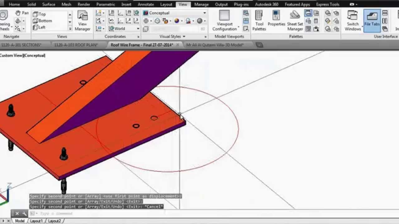 Roof Steel Structure Autocad 3D Modeling - Part 1