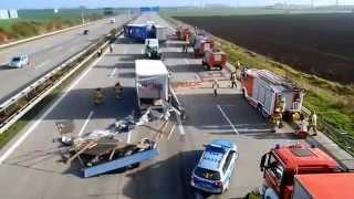 Schwerer LKW Unfall Autobahn A2 Magdeburg 06.11.2014