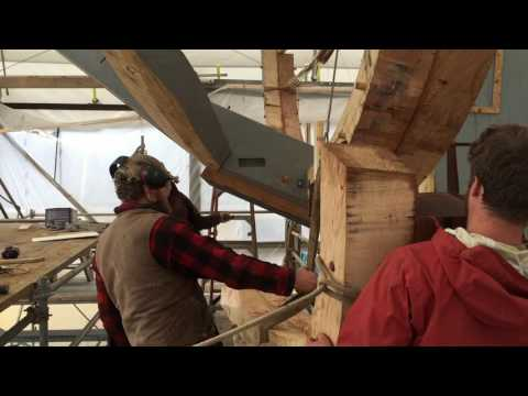 Ernestina-Morrissey - Using gin pole to lift frame into place : Part 1