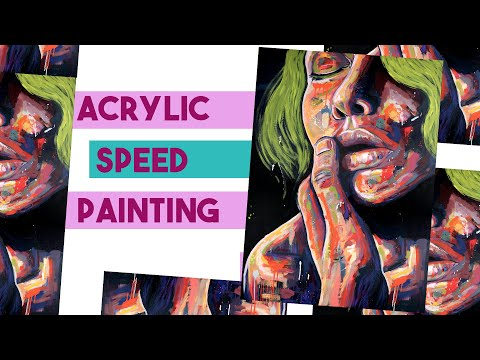 Contemporary Acrylic Portrait Speedpainting + Art Chat, Artist Fatigue/ Burn Out