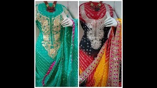 Exclusive Jaipuri silk suits with gota Patti...