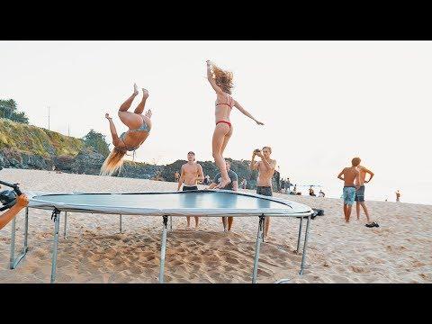 HAWAII: TRAMPOLINE ON THE BEACH!!