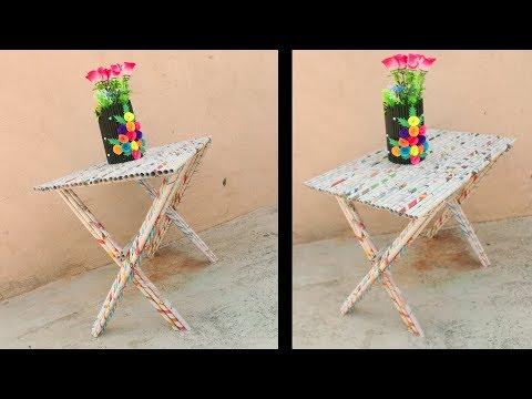 DIY Super Easy Newspaper Table - Diy Easy Newspaper Crafts - #DIY