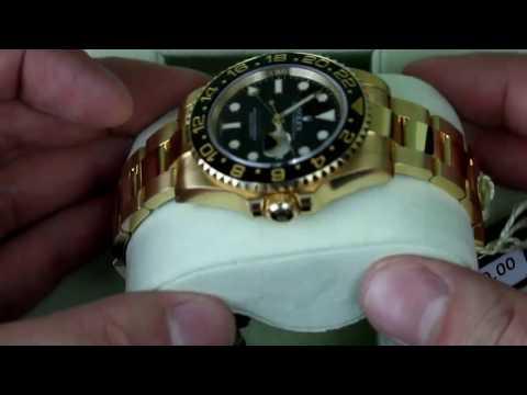 Rolex GMT Master II Black Index Dial Oyster Bracelet 18kt Yellow Gold Mens Watch 116718LN