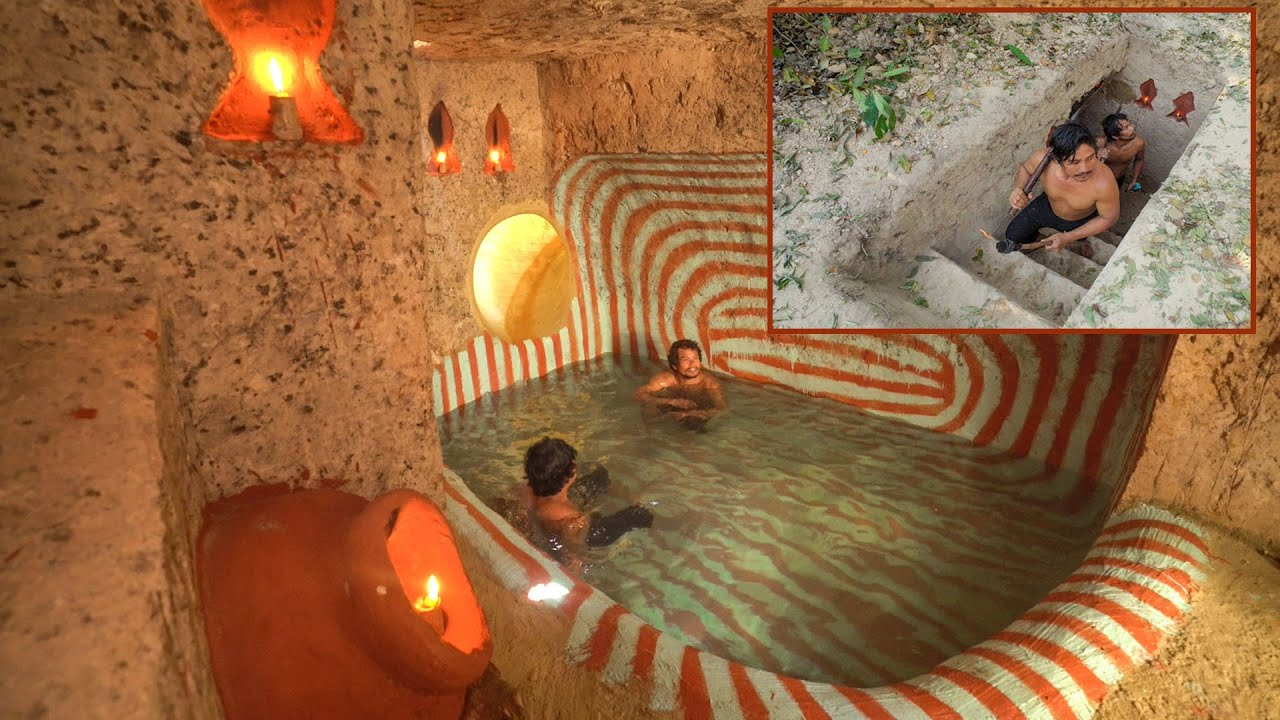 Build The Most Temple Underground With Tunnel Water Slide Swimming Pools