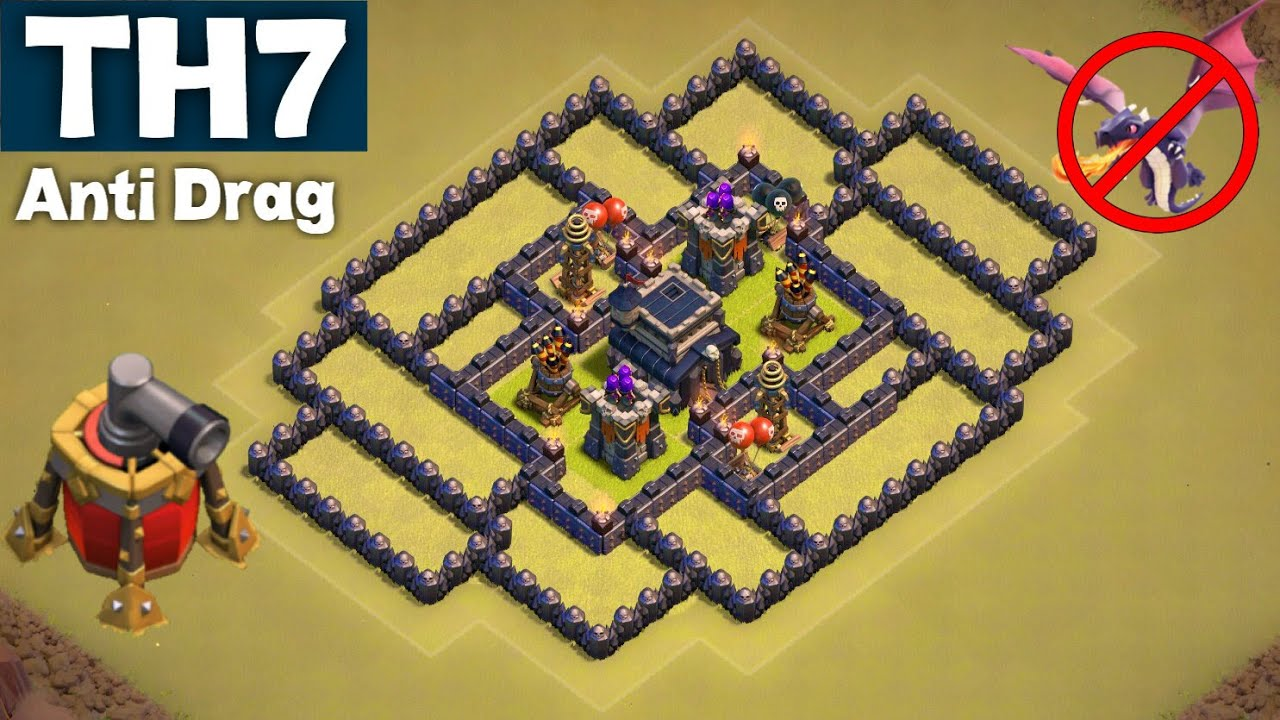 Best undefeated town hall 7 th7 war base anti drag guaranteed