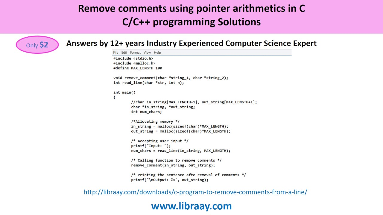 C Program to remove comments from a line using pointer arithmetic