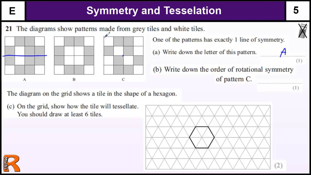 Symmetry and Tesselation GCSE Maths Foundation revision Exam paper – Tessellations Worksheet