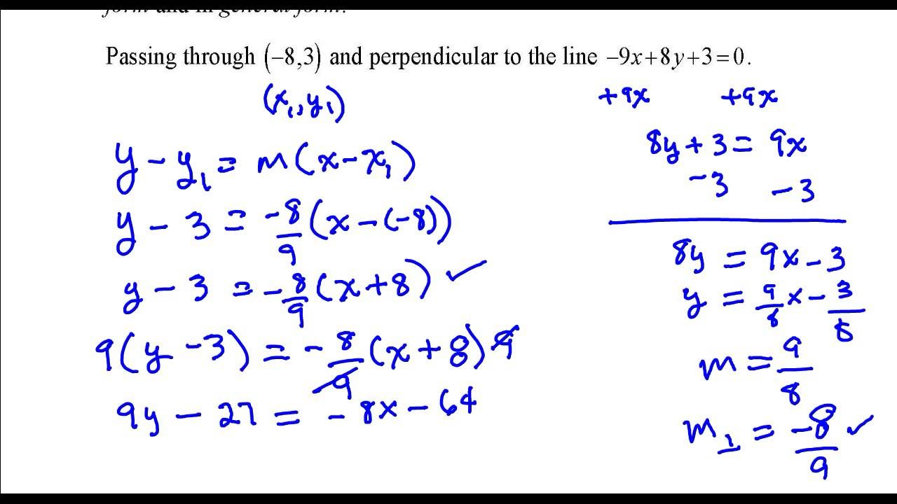 Write the equation of the line that passes through the point and write the equation of the line that passes through the point and perpendicular to the line falaconquin