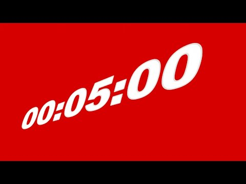 5 Minute Timer || White Numbers on Red Screen Background || FREE TEMPLATE
