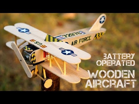 DIY - Antique wooden airplane powered by DC motor & 3V battery. Made by dointuitive...