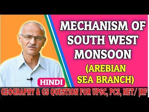 Mechanism of South West Monsoon (Arabian Sea Branch) in HIndi // By SS Ojha // Allahabad University