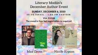 Literary Modiin December Author Event with Max Gross & Nicole Krauss