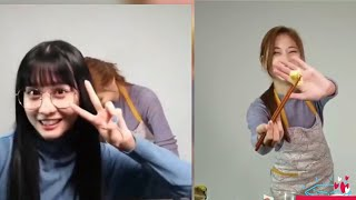 Twice TZUYU Cooking & Eating|Momo & Jeongyeon supporting Tzuyu |VLIVE MIX