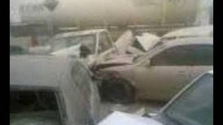 Very Huge Car accident in Saudi Arabia ( 80 cars !! )