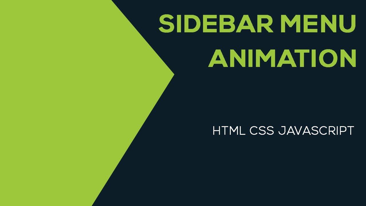 Sidebar Menu Animation using HTML CSS & JQuery
