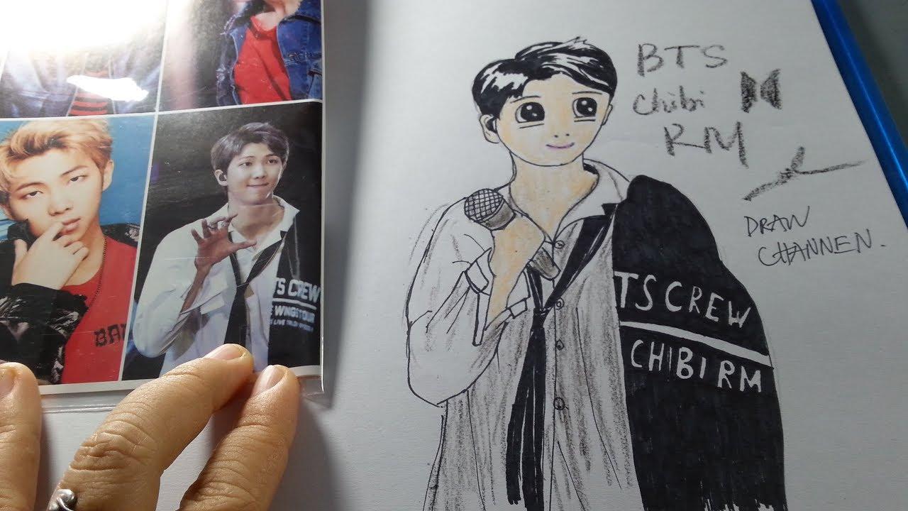 Hướng dẫn vẽ chibi BTS RM – RAP MONSTER dễ nhất, cute nhất/ draw channel