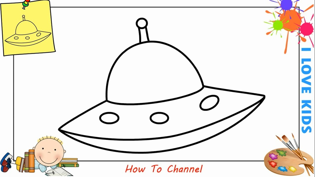 How To Draw A Ufo Easy Step By Step For Kids Beginners Children 1