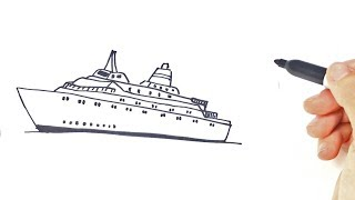 Como dibujar un Barco Grande para niños | Dibujo de Barco Grande paso a paso