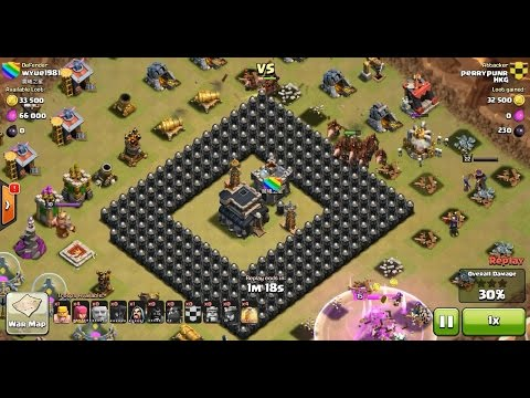 Clash of Clans Hog Rider Jumping Over Quintuple Walls