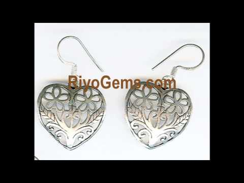 filigree earrings plain silver jewelry bali indonesia http://www.riyogems.com