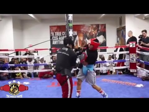 "MAYWEATHER SPAR WARS: HIGHLIGHTS OF GERVONTA ""TANK"" DAVIS STOPPING SPARRING PARTNER"