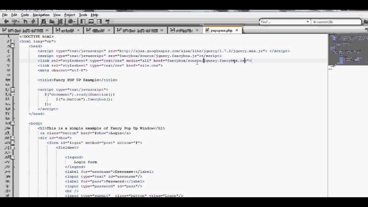 pop up window using fancybox in html