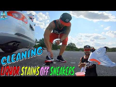 HOW TO CLEAN LIQUOR STAINS OFF SNEAKERS | WHAT SNEAKER CLEANER DO I USE?