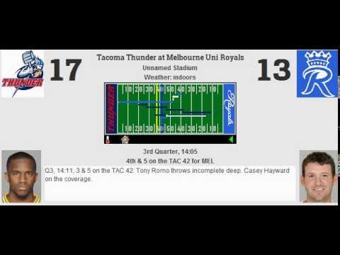Week 12: Tacoma Thunder (7-4) @ Melbourne Uni Royals (6-5)