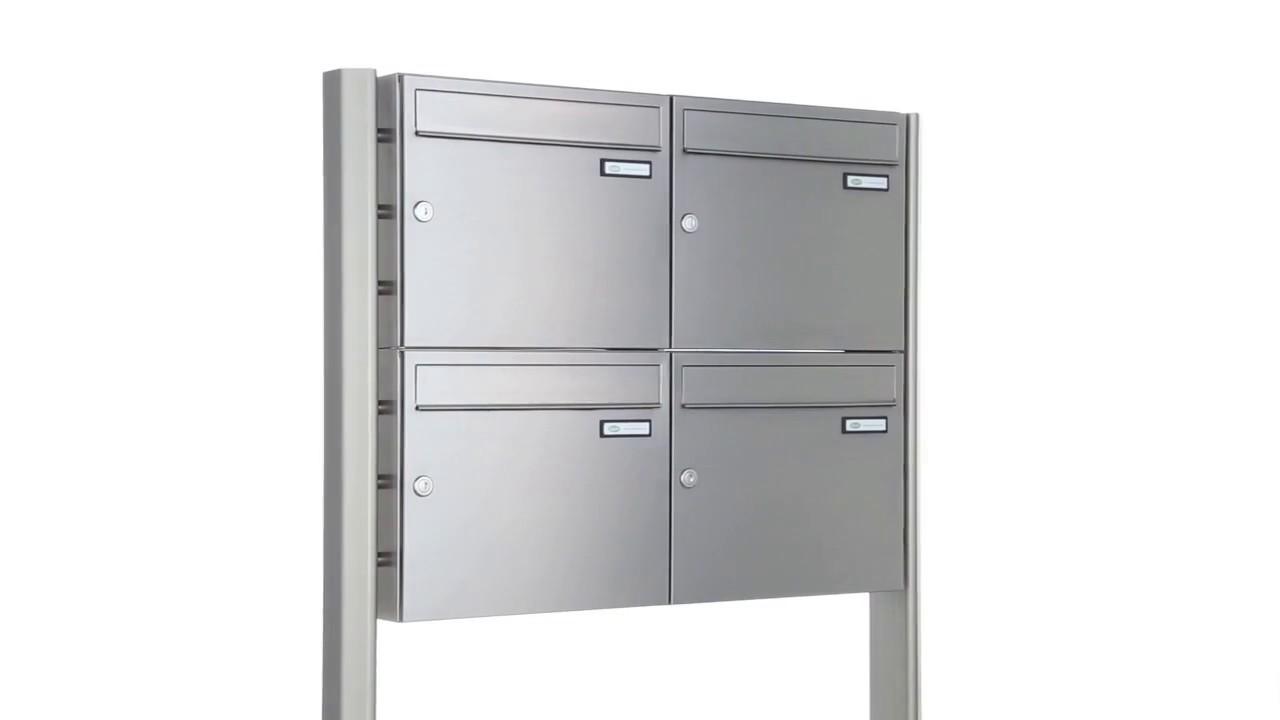 4er Edelstahl Briefkastenanlage Freistehend Premium Elegance Standelemente Aluminium