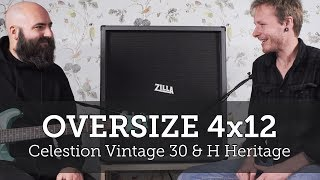 Zilla Cabs 4x12. Talk through, slanted baffles, X pattern and V30/ H heritage mix