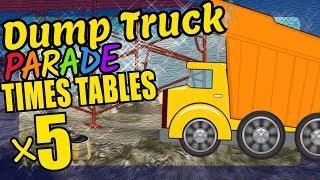 Dump Truck Teaching Multiplication Times Tables x5 Educational Math Video for Kids