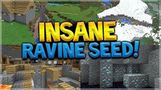 INSANE RAVINE SEED!! Minecraft Pocket Edition - 1.2 Mineshaft Ravine, Diamonds, & MORE!!!!