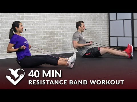 40 Minute Total Body Resistance Band Workout - Elastic Exercise Band Workouts for Women & Men