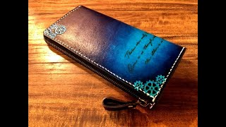 【Making】Long wallet with gear engraving 【Hand dyed】【Leather Craft】
