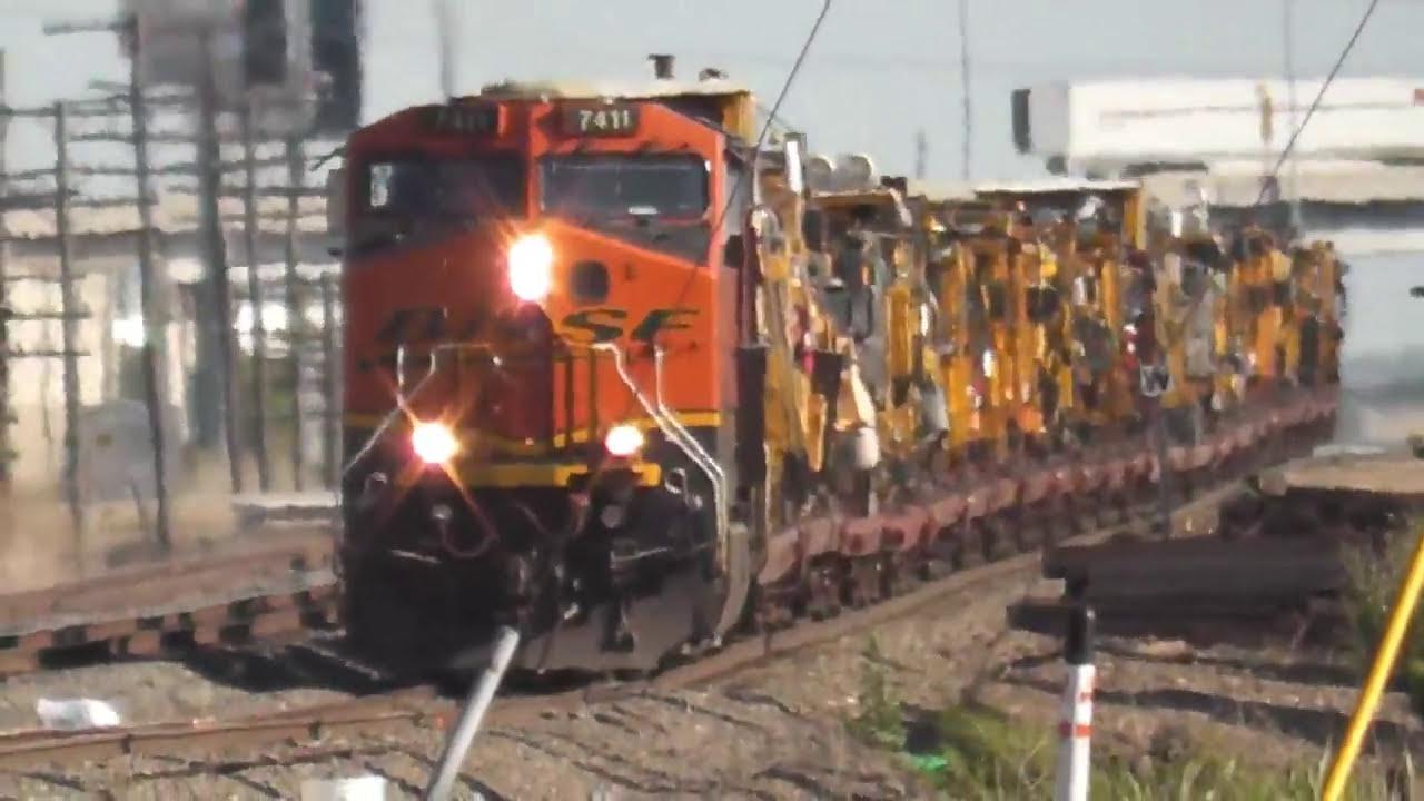 BNSF Railroad Equipment carrier train at Saginaw, Texas