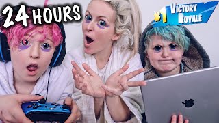 PLAYiNG FORTNiTE FOR 24 HOURS CHALLENGE *Hilarious*