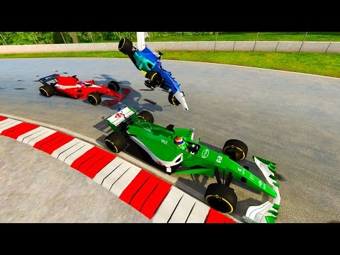 BeamNG Drive - AWESOME F1 CAR CRASHES AND RACING!