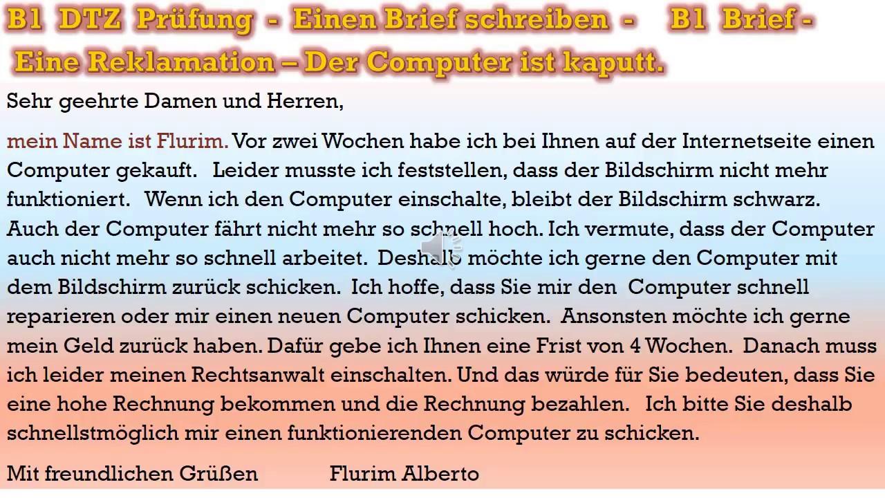 B1 Prüfung Deutsch Lernen Schriftliche Prüfung Einen Brief Eine