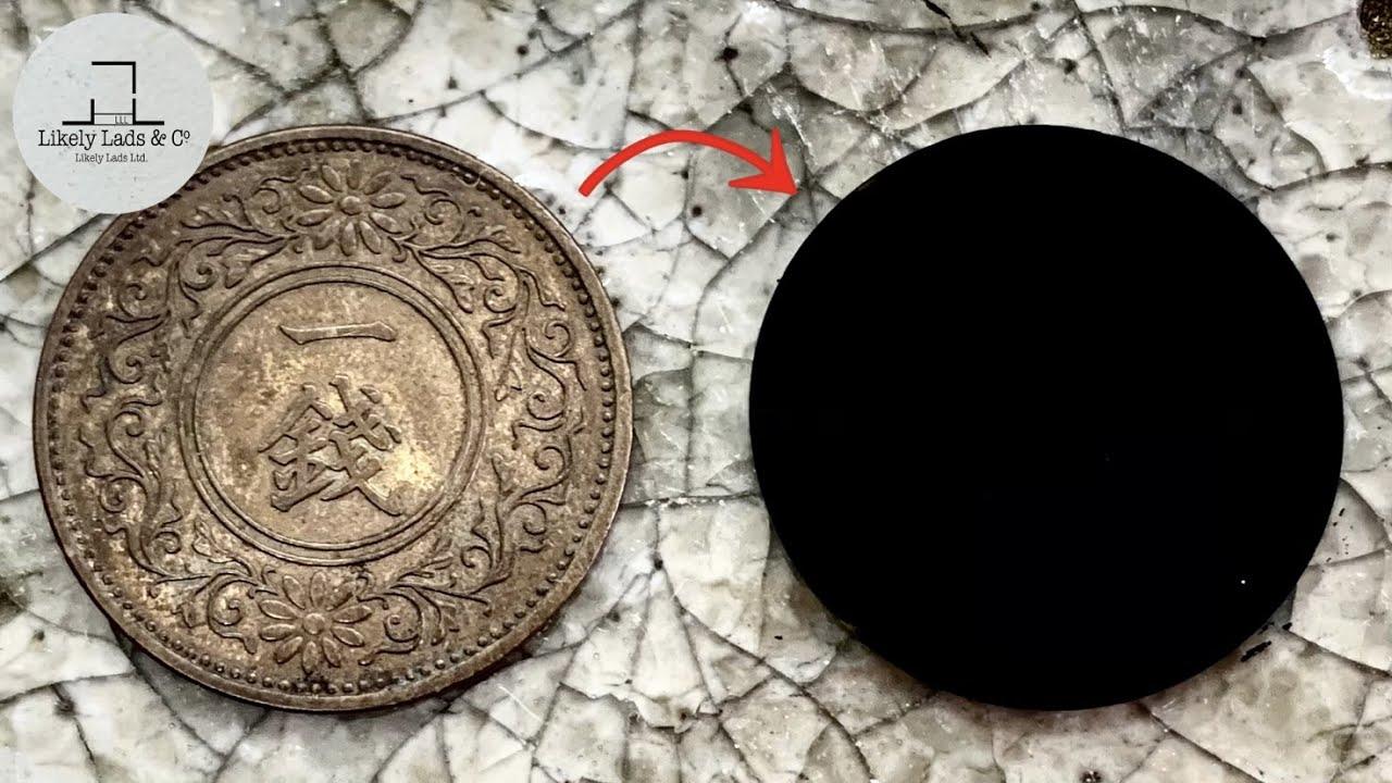 【コイン磨かない】お金を汚す方法 ベンタブラック 一銭 how to make Vantablack coins ASMR
