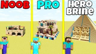 Minecraft Battle: NOOB vs PRO vs HEROBRINE: SAND BASE BUILD CHALLENGE / Animation