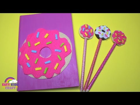 DIY Donut Notebook and Pencil Topper | Back to School DIY