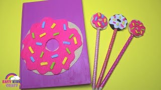 DIY Donut Notebook and Pencil Topper   Back to School DIY
