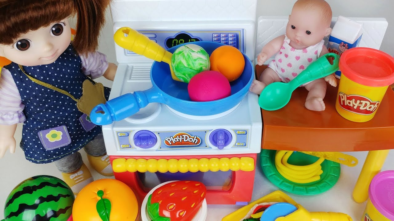 Baby Doll And Play Doh Kitchen And Refrigerator Cooking