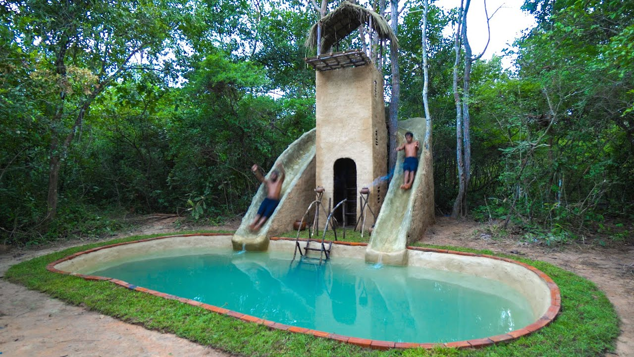 Build The Most Three Story And Water Slide Park Swimming Pools