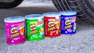 Car vs Pringles Experiment | Crushing Crunchy & Soft Things by Car