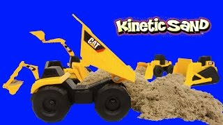 Kinetic Sand Fun Construction Toys Caterpillar Mighty Machines Dump Truck Bulldozer Excavator